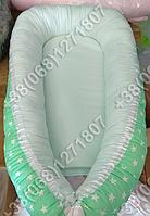 Детский кокон позиционер для новорожденных (салатовые расцветки)