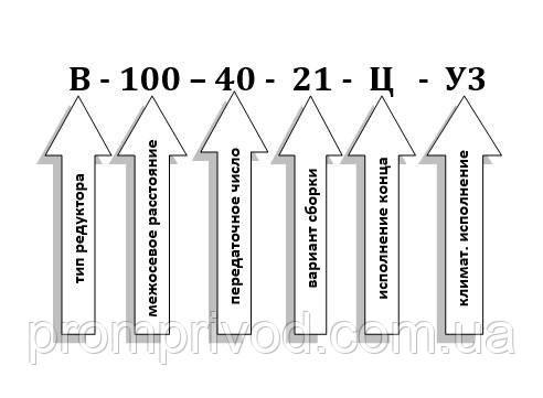 Схема условных обозначений редуктора В-100-40