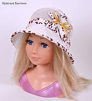 Шляпка сетка. р. 50-53см (3-6 лет) Джинс, крапинка, бабочка, белый, элетрик, красный бантик, бирюза