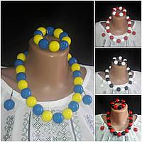Яркий женский глянцевый комплект бижутерии: браслет, серьги, бусы, d бусин 2 см, 45/55 (цена за 1 шт.+10 грн)