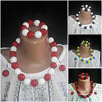 Женские глянцевые украшения: браслет, серьги, бусы, d бусин 2 см, 45/55 (цена за 1 шт.+10 грн)