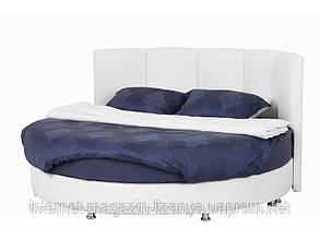 Кровать круглая с кожаным изголовьем