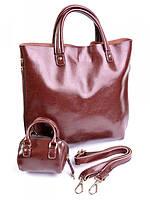 Большая женская кожаная сумка цвета кофе 8010