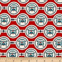 """Ткань для пэчворка и рукоделия американский хлопок """"Машинки на красном"""" - 22*55 см"""