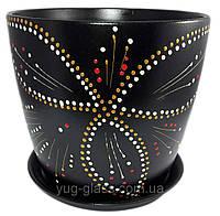 """Горшок цветочный лакированный """"Художественная дорисовка на черном"""" 5л H=20cm D=22cm керамический."""