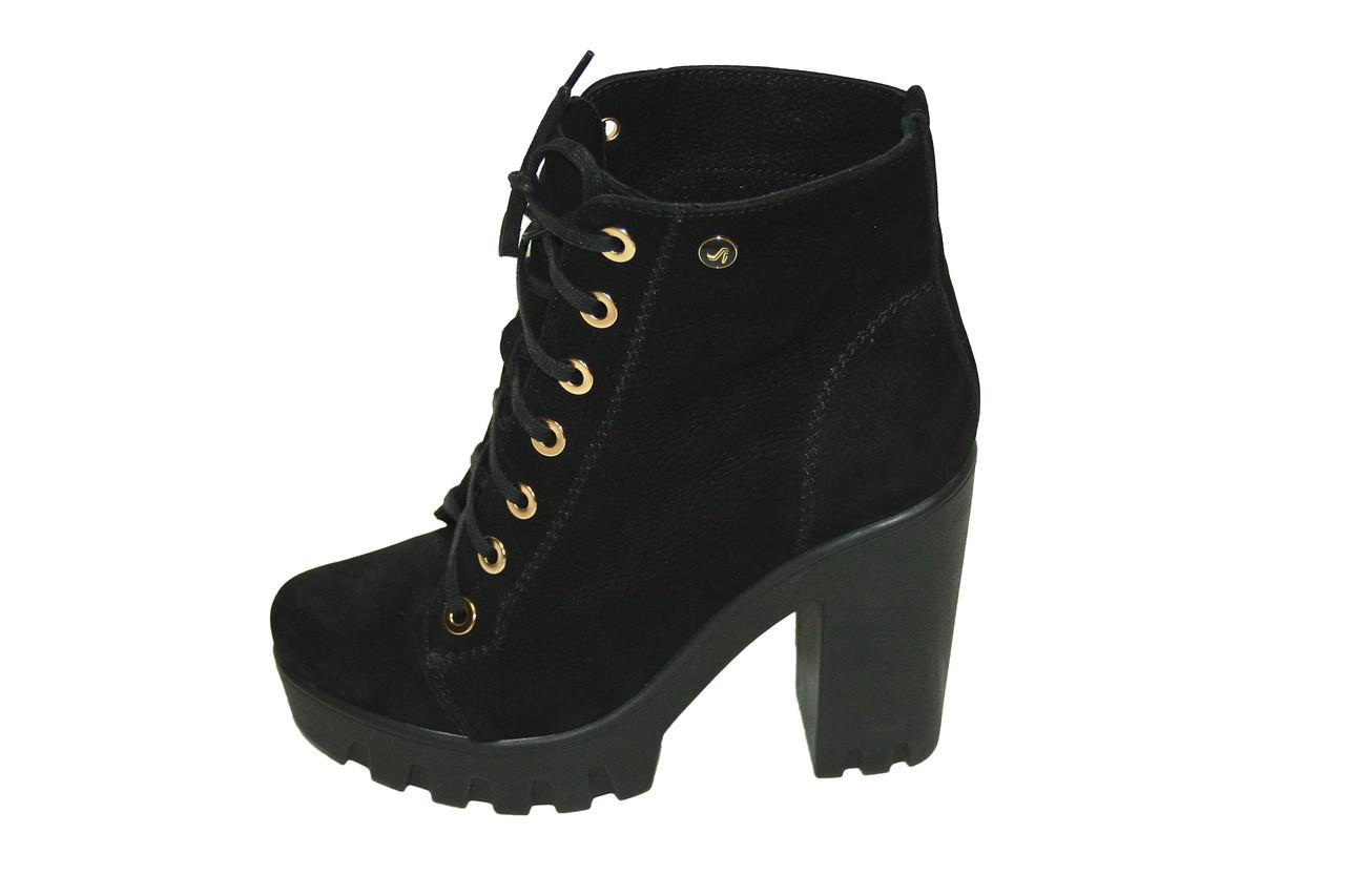 Ботинки на каблуке (нубук)  / women's shoes 80156-06