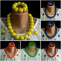 Глянцевый женский комплект желтого цвета, d бусин 2 см, 45/55 (цена за 1 шт.+10 грн), фото 1