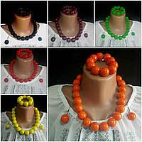 Комплект женский деревянный оранжевого цвета, d бусин 2 см, 45/55 (цена за 1 шт.+10 грн)