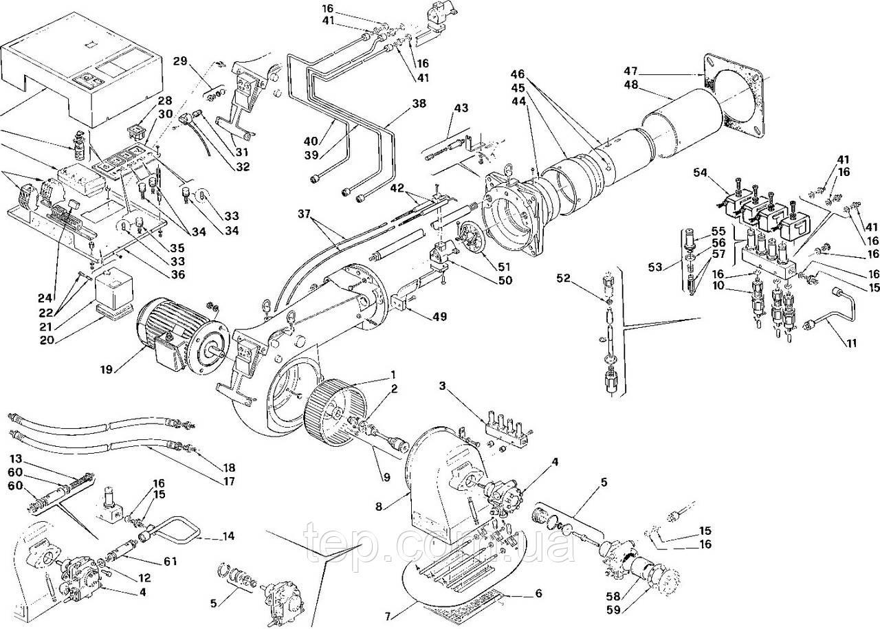 Специфікація запасних частин для триступінчатих пальників Riello серії PRESS TG