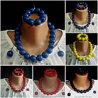 Стильные женские глянцевые украшения: бусы, серьги, браслет, d бусин 2 см, 45/55 (цена за 1 шт.+10 грн)