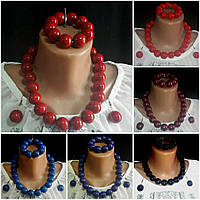 Бусы, серьги, браслет женские из дерева, d бусин 2 см, 45/55 (цена за 1 шт.+10 грн)