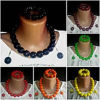 Женский глянцевый набор из браслета, серьг и бус, d бусин 2 см, 45/55 (цена за 1 шт.+10 грн)