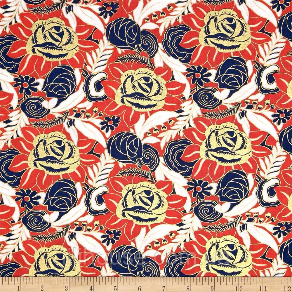 """Ткань для пэчворка и рукоделия американский хлопок """"Розы ЗОЛОТО"""" - 45*55 см"""