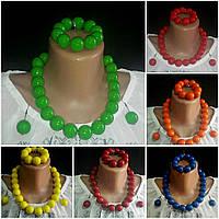 Браслет, серьги, бусы женские глянцевые, d бусин 2 см, 45/55 (цена за 1 шт.+10 грн), фото 1