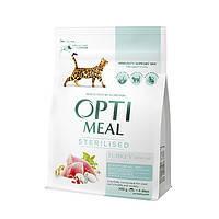 Сухой корм OPTIMEAL (ОПТИМИЛ) для стерилизованных и кастрированных- (STERILIZED) с индейкой и овсом 0,3КГ