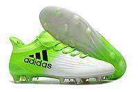 Футбольные бутсы adidas X 16 FG White/Solar Green/Core Black, фото 1