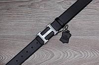Кожаный мужской ремень гермес (Hermes), черный