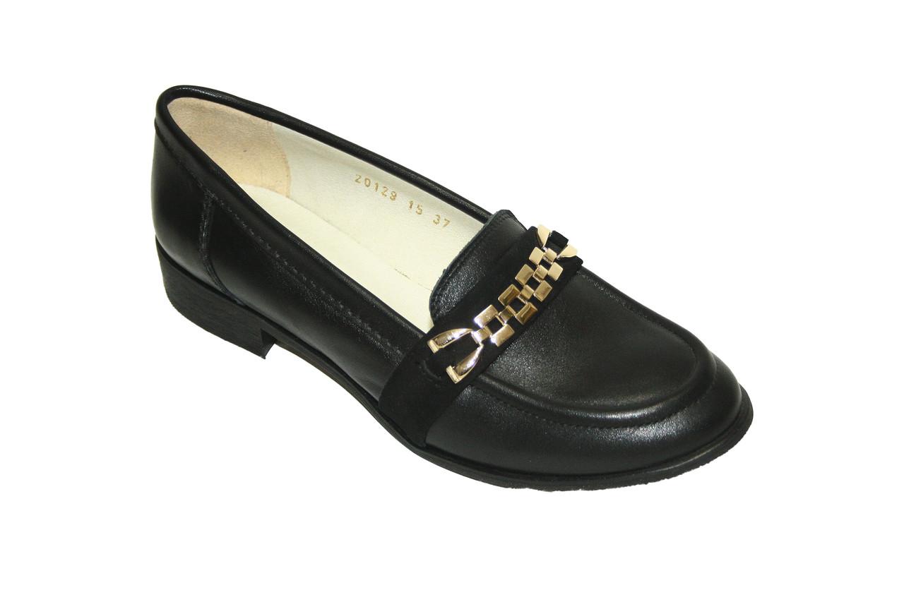 Кожаные женские туфли с золотистой фурнитурой / shoes 20129-01/02