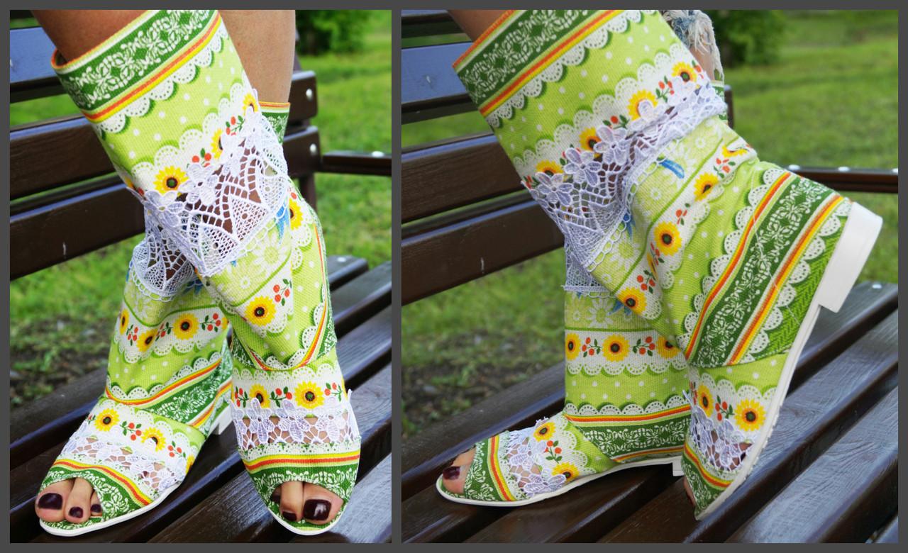 Женские стильные летние сапожки с кружевом и открытым носком