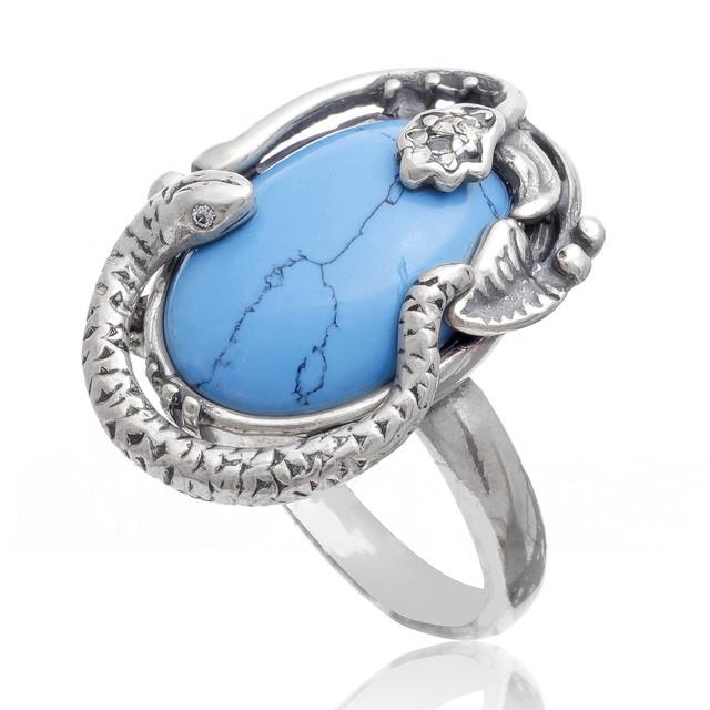 Кольцо со змеями серебро фото