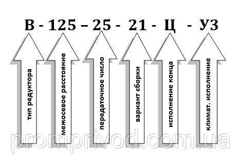 Схема условных обозначений редуктора В-125-25