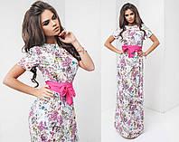 Женское летнее платье с цветами в пол