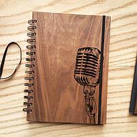 "Деревянный блокнот ""Микрофон"" А6 (бумага 105х148 мм), фото 1"