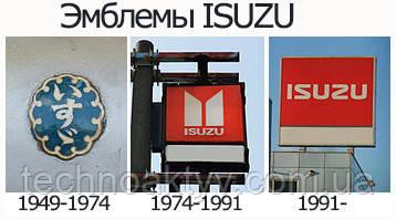 Первый логотип Isuzu, 1949-1974;   Второе поколение логотипа Isuzu, 1974-1991;   Текущий логотип Isuzu, 1991-