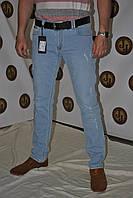 Джинсы мужские  бело- голубые с потертостями зауженные Philipp Plein 2384