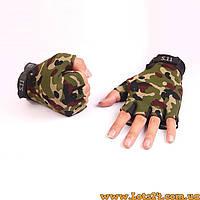 Тактические перчатки без пальцев 5.11 Камуфляж (безпалые, безпалки) M