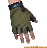 Тактические перчатки без пальцев 5.11 Зеленые (безпалые, безпалки) M