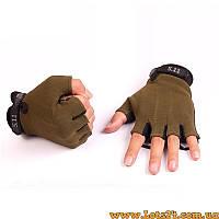 Тактические перчатки без пальцев 5.11 Зеленые (безпалые, безпалки) XL