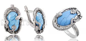 Серебряный комплект кольцо и серьги c бирюзой и змеями