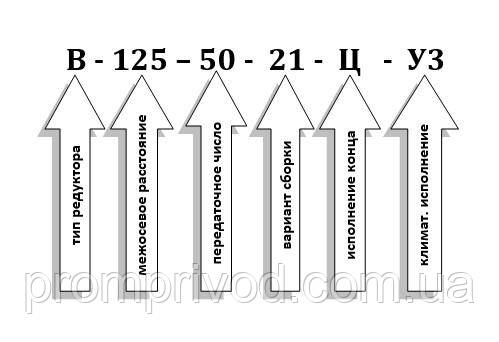 Схема условных обозначений редуктора В-125-50