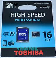 Карта памяти micro SD на Toshiba 16 Gb 10  class