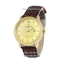 Часы Patek Philippe quartz 8610-1 Brown-Gold-Gold