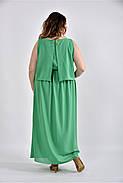 Женское летнее длинное шифоновое  платье 0532 цвет зеленый размер 42-74 / большого размера, фото 2