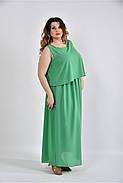 Женское летнее длинное шифоновое  платье 0532 цвет зеленый размер 42-74 / большого размера, фото 3