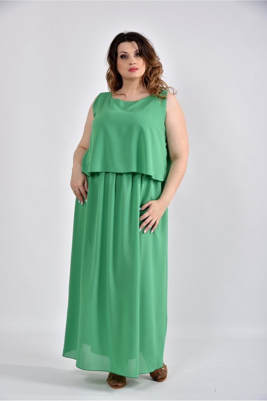Женское летнее длинное шифоновое  платье 0532 цвет зеленый размер 42-74 / большого размера
