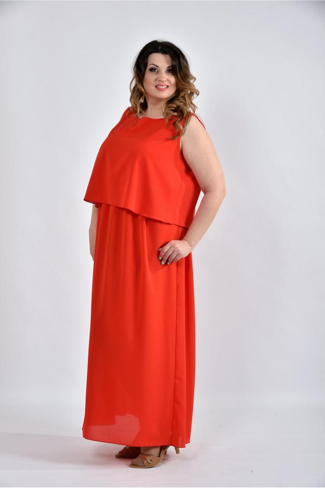6c641b15a23a033 Женское Летнее Длинное Шифоновое Платье 0532 Цвет Красный Размер 42 ...