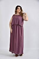 Женское летнее длинное шифоновое  платье 0532 цвет слива размер 42-74 / большого размера