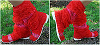Женские красные стильные летние сапожки с рюшами