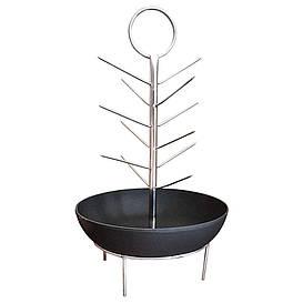 Шампурница (елочка) с чугунной сковородой для тандыра, нержавейка, Д. 27 см