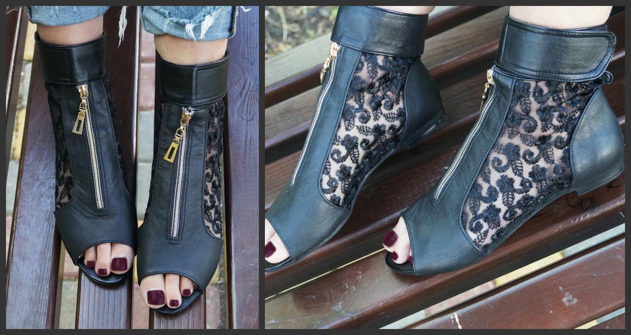 Женские стильные летние ботинки из натуральной кожи+гипюр