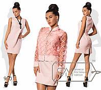 Стильное платье из льна в комплекте с бомбером из органзы.