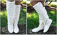 Женские стильные летние высокие сапожки с рюшами