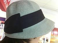 РАСПРОДАЖА летняя женская шляпа оливкового цвета с короткими полями и шикарным черным бантом ретро стиль