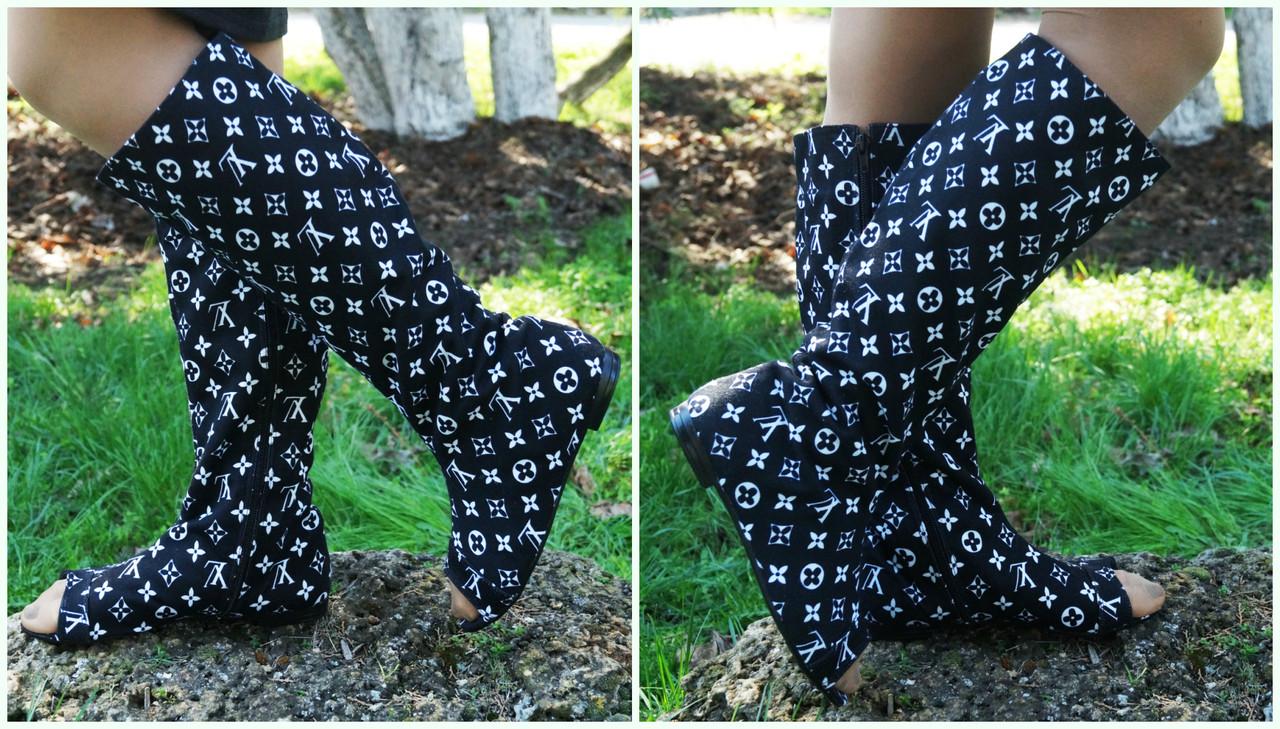 Женские стильные трикотажные сапожки с открытым носком на змейке