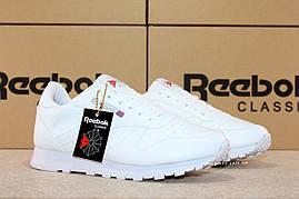 Рибок Классик белые Reebok Classic white мужские кроссовки кожаные