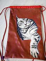 Рюкзак для сменной обуви на шнурках Кот в красном № 4